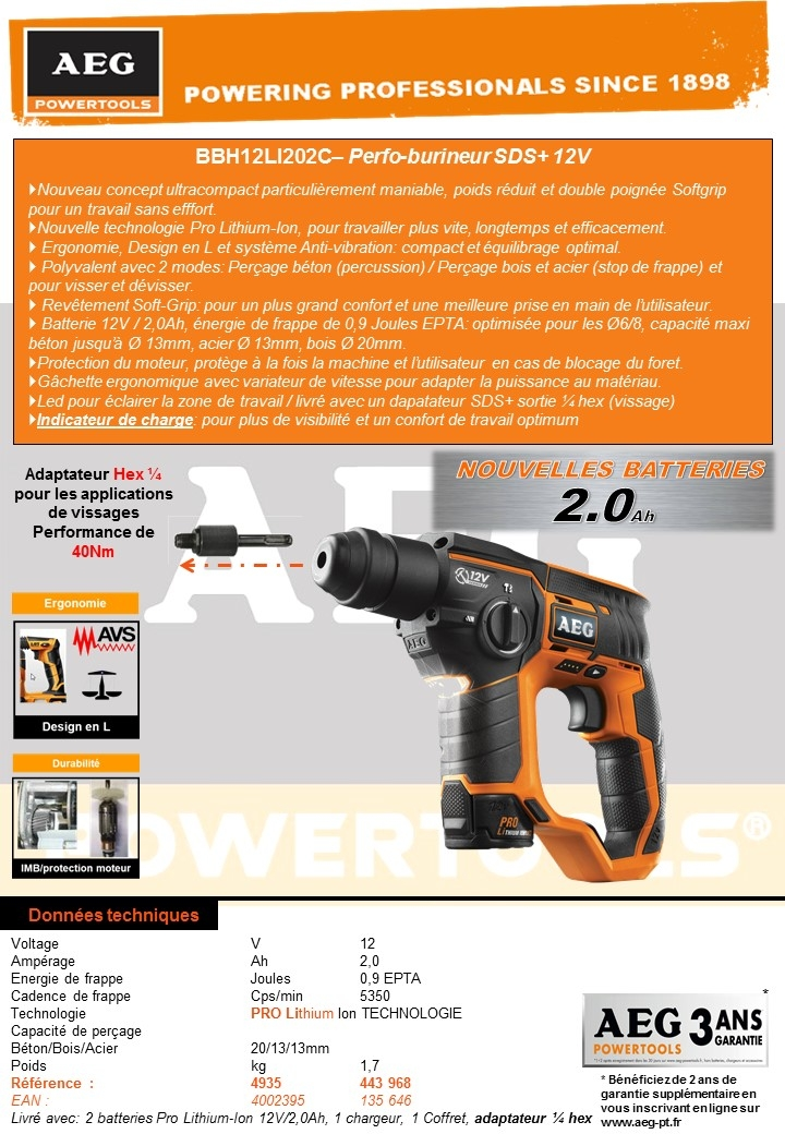 PERFO-BURINEUR SDS+ 12V