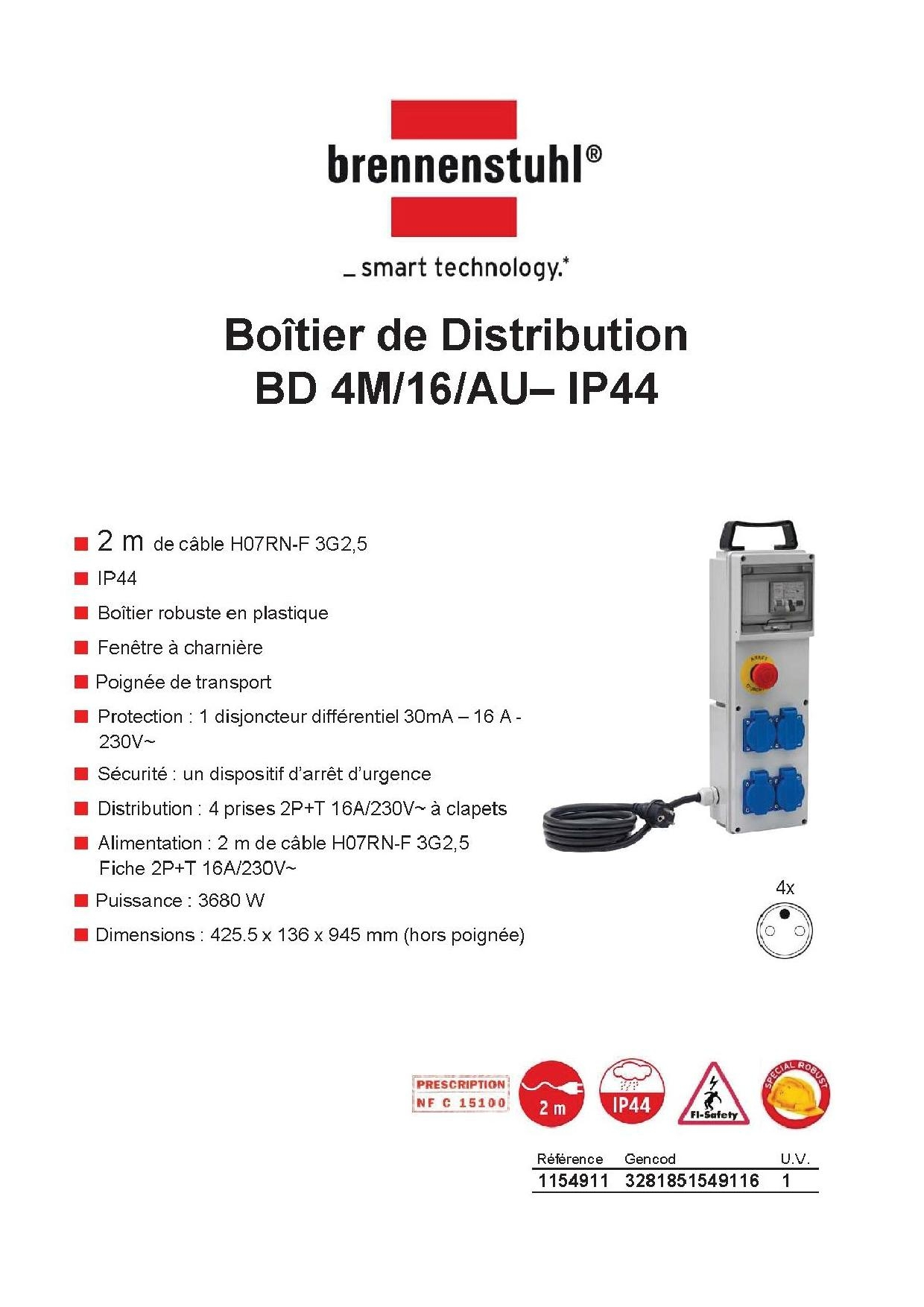 Boîtier de Distribution Chantier IP44